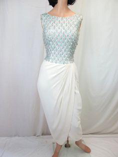 1950s Aqua Beaded Cocktail Dress by tovasvintage on Etsy