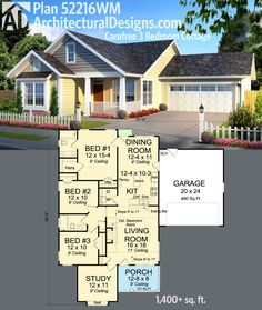 Plan Carefree 3 Bedroom Cottage : Architectural Designs 3 Bed Carefree Cottage giv es you over square feet of living in an attractive envelope. Where do YOU want to build? Sims House Plans, New House Plans, Dream House Plans, Small House Plans, The Plan, How To Plan, Cottage House Plans, Cottage Homes, Br House