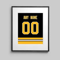 A print photograph print that features the name and # of the buyers choosing. The print will be customized for the buyer. The design of the print is similar to the jerseys of the Boston Bruins. Printed on high quality semi-gloss photographic paper.  An excellent print to display in your recreation room, or in a bedroom. Whatever suits your fancy.  The print can be customized to put the name of a bride or groom. An excellent wedding present.  The jersey design can customized for FREE in order…