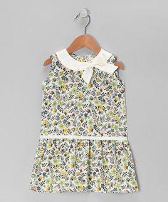 Green & Yellow Floral Drop-Waist Dress