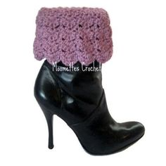 Very cool to add to your ankle boots this season - Crochet Handmade Leg Warmers Boot Cuffs Chunky Socks Blackberry Pink