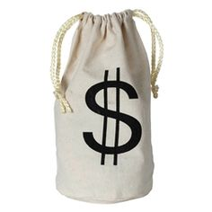 Party Supplies | 20's Themed Party | Money Bag...Make your gangster party even more memorable by using this Money Bag! This bag has endless possibilities! Use it as a centerpiece, favor bag, costume accessory or fun decoration to kick the party into gear. You can also use this bag at your wild west party.