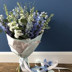 Tender blue delphinium and white mattiola aroma bouquet Blue Flowers Bouquet, Blue Delphinium, Watercolor, Wallpaper, Phone, Home Decor, Flowers, Homemade Home Decor, Watercolor Painting
