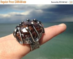 SALE Post-apocalyptic Druzy Garnet Cluster Ring. by rocksnbeads