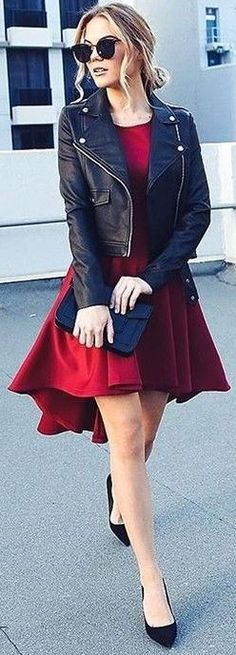 #fall #executive #peonies #outfits |  'Rocker chick' Jacket + Red 'New 'Hysteria' Dress