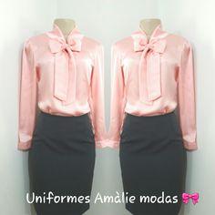 Uniformes Amàlie modas   Blusa com laço rosa bebe.  Tecido silk cetim.  Fabricação própria. Choir Uniforms, Barong, Four Square, Ideias Fashion, Hooded Jacket, Womens Fashion, Jackets, Shirts, Clothes