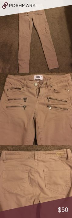 Paige Skinnies! Khaki Paige Skinny jegging with zipper detail. Super comfortable and soft. Only worn twice. Just got too small for me 😭 Paige Jeans Jeans Skinny