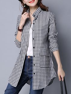 Folding Collar Casual Plaid Long Sleeve Blouse , Buy Affordable And Fashionable Women's clothing Online. Buy Shoes, Bags, Dresses Etc. Stylish Dress Designs, Stylish Dresses, Latest Fashion Clothes, Fashion Outfits, Cheap Fashion, Look Legging, Kids Dress Wear, Blouse Styles, Active Wear For Women
