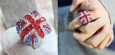 United Kingdom flag ring   British flag ring - $5.99USD