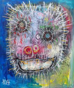 Dans mon esprit (Peinture), 105x125 cm par Olivier PIOCH Tableau acrylique, pastel grasse, spray sur bois monté sur chassis bois.