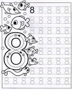 New System-Suitable Numbers Line Study - Preschool Children Akctivitiys Preschool Writing, Numbers Preschool, Math Numbers, Preschool Printables, Kindergarten Worksheets, Preschool Activities, Tracing Worksheets, Math For Kids, Kids Education