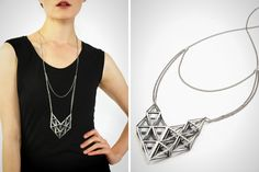 3D printed diamond cluster necklace.