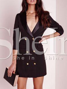 Black Long Sleeve Lapel Dress 27.99