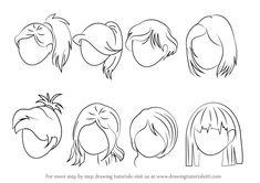 Learn How to Draw Anime Hair - Female (Hair) Step by Step : Drawing Tutorials