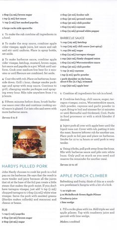 LCBO Food  Wine Magazine. Hardy's Pulled Pork! Pork Recipes, Wine Recipes, Bbq Grill, Grilling, Food & Wine Magazine, Spare Ribs, Smoked Paprika, Chili Powder, Pulled Pork