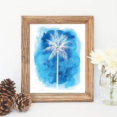 Hey, I found this really awesome Etsy listing at https://www.etsy.com/listing/225002423/blue-palm-tree-print-watercolor-print