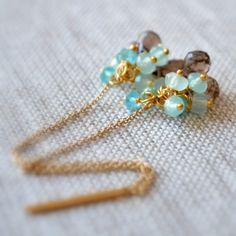 Smoky Quartz Earrings, Gold Chain Threaders, Mint Green Chalcedony, Aqua Apatite Jewelry, Gemstone Clusters, Free Shipping