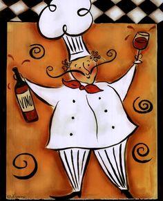 Whimsical Chef I (wine) by Rebecca Lyon