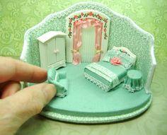 Miniature 1 4 Hatbox Roombox with Furniture by Morena Ciambra Dreamartdolls | eBay