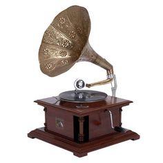 Antique Replica Dark Wood Phonograph Gramophone