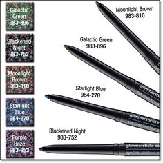 Glimmersticks Cosmic Eye Liner - Colours Available: Galactic Green, Starlight Blue, Purple Haze, Moonlit Brown --- Regular Price: $7.99 --- My Price: $3.00* *while supplies last Smooth, glide-on colour. Retractable, self-sharpening. Wears up to 12 hours. For eye definition, draw a bold line from the outer to the inner corner of the top lash line, then a finer line along bottom. 0.28 g