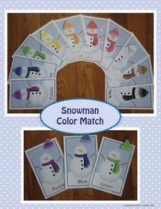 snowman color match cards for preschool or toddler busy bag