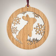 Sitting up with his ears up, listening to the snow fall, this little rabbit ornament brings a smile! The bunny rabbit ornament is a perfect Christmas decoration for any animal lover. This wooden rabbit ornament is simple in design but intricate in detail, including blades of grass at bunnys feet. These ornaments measure 4 or 10cm in diameter and 1/4 thick. These wooden ornaments are made of high quality white oak laminate. They have been given a light coat of natural stain to highlight the…