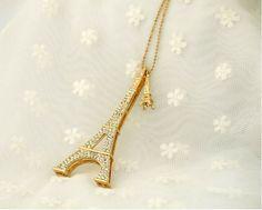 Fashion Zinc Alloy Eiffel Tower Long Necklaces For Women