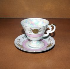 Lefton China Cup and Saucer Set  Demitasse Size  Hand Painted Gold Roses and Pink Irredescent Collectable  Vintage
