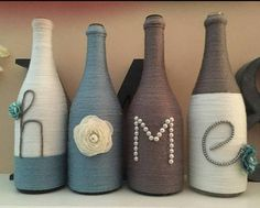 Wrapped rustic wine bottles, decorated to order! They make a great gift for any occasion or for your home! --Add the number of bottles to your cart --Complete your purchase --Send me a message to let me know what would you would like your bottles to say. (i.e. Love, Hope, Faith,