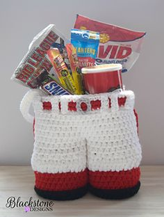 Baseball Pants Gift Basket crochet pattern from Blackstone Designs #Easter #Sports #Gift #Wine