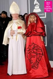 Nicki Minaj wore this the night of the Grammys when Whitney Houston was found dead. How you tell me the Illuminati, the Vatican, and the Music industry are not a Satanic Ritual machine?