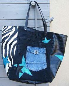 Bonjour Du noir, du jeans, du zèbre et du turquoise une belle alchimie pour ce nouveau cabas 34 . Retrouver toutes mes créations sur ma page Cathanne Bag sur Facebook Bonne journée Annecath