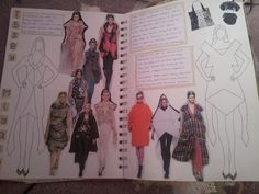 Fashion Sketchbook - geometric fashion design drawings & research; fashion student sketch book