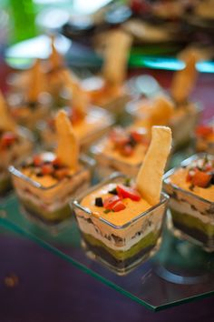 Love fiesta dip! These would be so cute for a Mexican-American inspired summer reception menu!