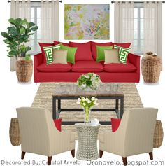 red couch with green home decor