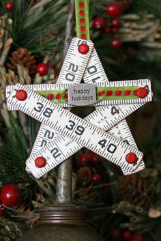 Christmas Star Ornament created from reclaimed folding rulers ~ ♥ Christmas Ornaments To Make, Christmas Star, Christmas Projects, Holiday Crafts, Holiday Fun, Christmas Holidays, Christmas Decorations, Holiday Decorating, Holiday Quote