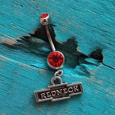 Redneck Belly Button Ring Red