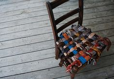 Oh lovely little chair...I appreciate your woven seat of recycled ties.