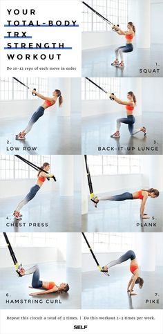 Your Entire Body With This Supercharged TRX Workout Do this routine of powerhouse basics to perfect your TRX technique while you zing every muscle.Do this routine of powerhouse basics to perfect your TRX technique while you zing every muscle. Pilates Training, Training Fitness, Sport Fitness, Muscle Fitness, Fitness Equipment, Gain Muscle, Training Quotes, Training Exercises, Black Fitness