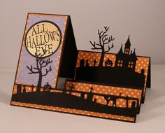 hand crafted Halloween Step Card ... die cut landscape lines in black ... one a cemetery ... the other a house on the hill ... great card!