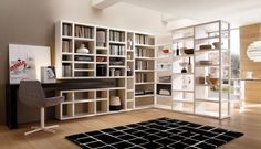 Work Room Design In Your Home Using Wooden Bookcase home trends design photos, home design picture at Home Design and Home Interior Interior Design Blogs, Home Design, Home Office Design, Interior Ideas, Bookcase Wall Unit, Wall Shelving Units, Modern Bookcase, Black Bookshelf, Living Room Wall Units