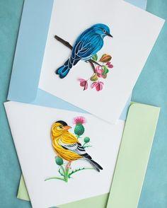 Quilling d'oiseaux pour des cartes postales réalisé par Quilling Card