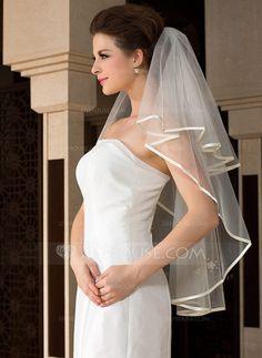 Wedding Veils - $9.99 - One-tier Fingertip Bridal Veils With Ribbon Edge (006036612) http://jjshouse.com/One-Tier-Fingertip-Bridal-Veils-With-Ribbon-Edge-006036612-g36612