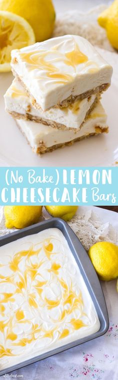 This no bake lemon cheesecake recipe is simple, full of lemon flavor, and lighter than a traditional cheesecake recipe, making it the perfect summer dessert! lemon cheesecake, how to make no bake cheesecake
