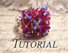 Tutorial PDF Right Angle Weave Swarovski Crystal Pillow Top Stretch Cocktail Ring, Instant Download