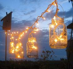 Mason Jar Party Lights DIY Lanterns Hangers for Wedding, Patio or Garden, Mason Jar Hangers, 6 or more, no jars - Trend Garden Decoration Mason Jar Lighting, Mason Jar Lamp, Strand Design, Mason Jar Hanger, Diy Luz, Mason Jar Party, Pot Mason Diy, Diy Lampe, Twinkle Lights
