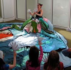 Nikky Smedley in her giant storytelling skirt is a better idea than my puppet skirt idea. Love that hers is like a puppet stage. My idea was a wearable skirt. I will perform classic tales such as 3 billy goats gruff, ugly duckling, and gingerbread man.