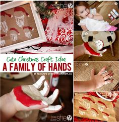 A family of santa hands diy christmas diy crafts do it yourself christmas crafts santas Cute Christmas Gifts, Christmas Games, Christmas Activities, Kids Christmas, Holiday Crafts, Christmas Decorations, Diy Craft Projects, Crafts For Kids, Diy Crafts