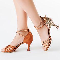 σανδάλια latin γυναικών ξέσπασε σατέν φτέρνα με στρας παπούτσια χορού 2016 - €39.19